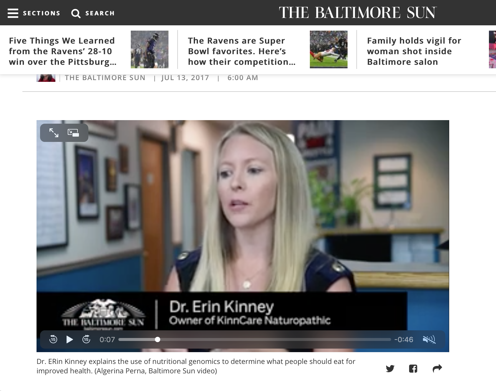 Dr Erin Kinney Baltimore Sun Interview
